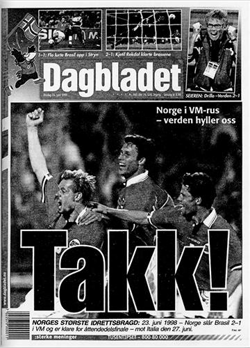 1998 – Norge slår Brasil i fotball-VM